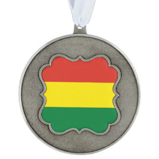 Bolivia Flag Scalloped Pewter Ornament