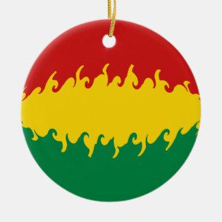 Bolivia Gnarly Flag Round Ceramic Ornament