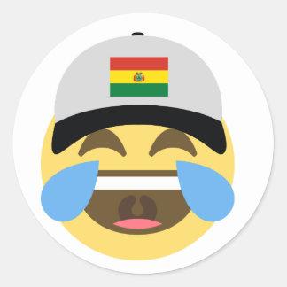 Bolivia Hat Laughing Emoji Classic Round Sticker