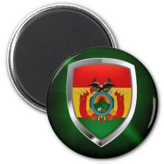 Bolivia Mettalic Emblem 2 Inch Round Magnet