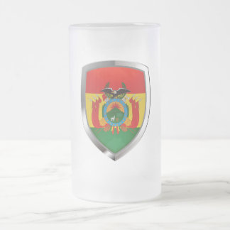 Bolivia Mettalic Emblem Frosted Glass Beer Mug