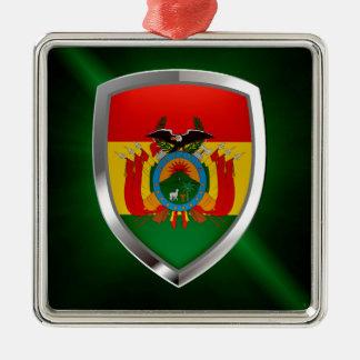 Bolivia Mettalic Emblem Silver-Colored Square Ornament