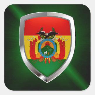 Bolivia Mettalic Emblem Square Sticker