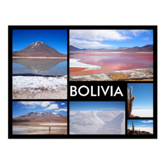 Bolivia multiple image collage black text postcard