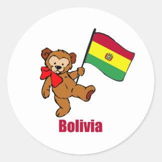 Bolivia Teddy Bear Classic Round Sticker