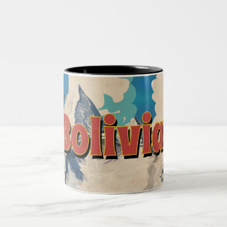 Bolivia Vintage Travel Poster Two-Tone Coffee Mug