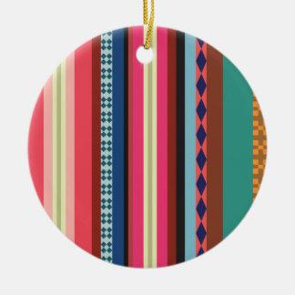 Bolivian pattern round ceramic ornament