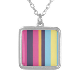 Bolivian stripes silver plated necklace