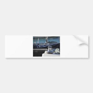 Bollard and mooring ropes on sailing boat bow bumper sticker
