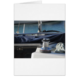 Bollard and mooring ropes on sailing boat bow card