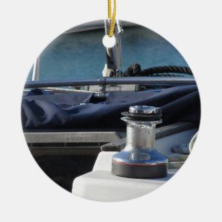 Bollard and mooring ropes on sailing boat bow ceramic ornament