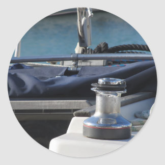 Bollard and mooring ropes on sailing boat bow classic round sticker