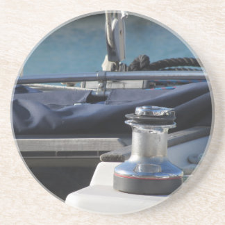 Bollard and mooring ropes on sailing boat bow coaster