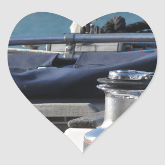 Bollard and mooring ropes on sailing boat bow heart sticker
