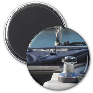 Bollard and mooring ropes on sailing boat bow magnet