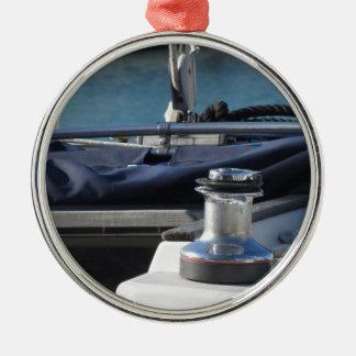 Bollard and mooring ropes on sailing boat bow metal ornament