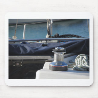 Bollard and mooring ropes on sailing boat bow mouse pad