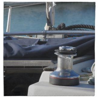 Bollard and mooring ropes on sailing boat bow napkin