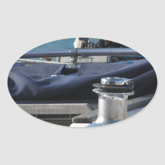 Bollard and mooring ropes on sailing boat bow oval sticker