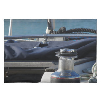 Bollard and mooring ropes on sailing boat bow placemat