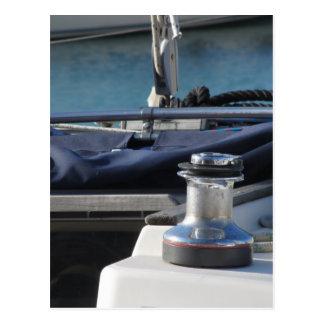 Bollard and mooring ropes on sailing boat bow postcard