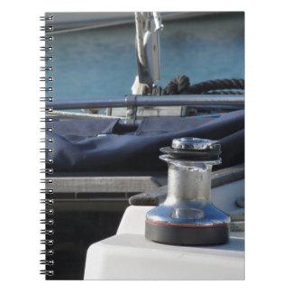 Bollard and mooring ropes on sailing boat bow spiral notebook