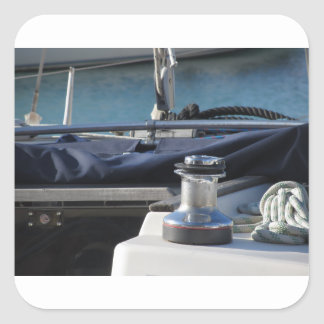 Bollard and mooring ropes on sailing boat bow square sticker