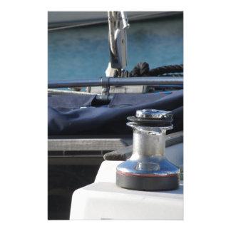 Bollard and mooring ropes on sailing boat bow stationery