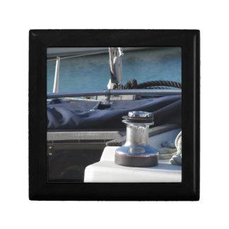 Bollard and mooring ropes on sailing boat bow trinket box