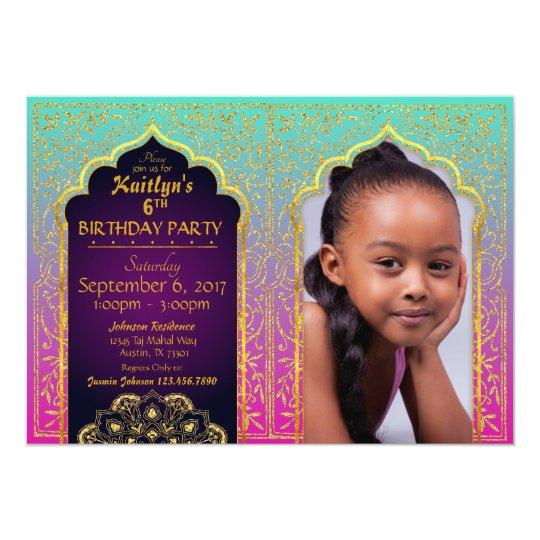 Bollywood Arabian Nights Birthday Invitation Card