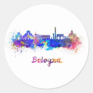 Bologna skyline in watercolor classic round sticker