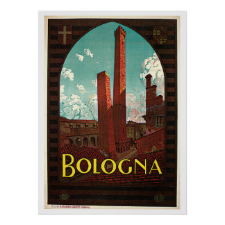 Bologna Two Towers Italy Vintage Travel Poster