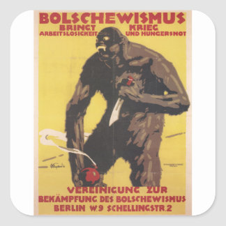 Bolshevism Propaganda Poster Square Sticker
