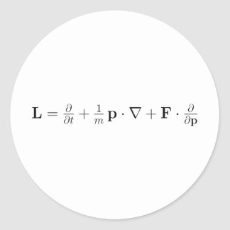 Boltzmann equation, black round sticker