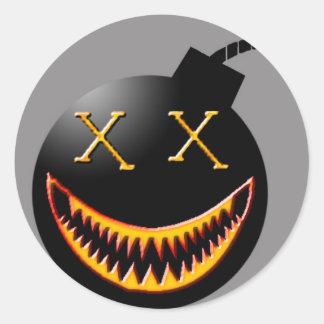 bomb face classic round sticker