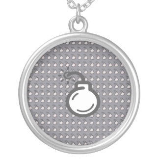 Bomb Icon Silver Plated Necklace