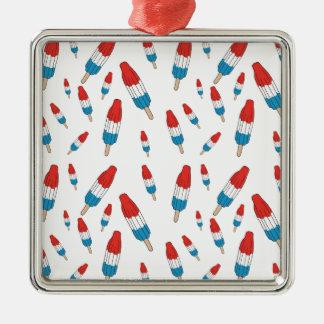 Bomb Pop Pattern Silver-Colored Square Ornament