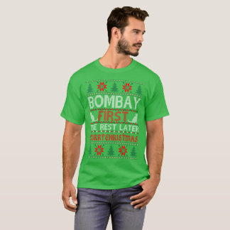 Bombay First Rest Later Christmas Ugly Sweater Tee