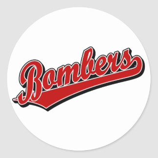 Bombers in Red Classic Round Sticker