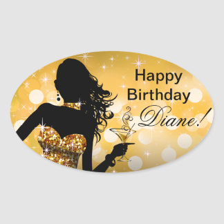 Bombshell Bling Glitter Party Dress oval | gold Oval Sticker