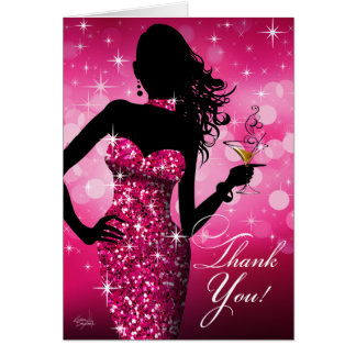 Bombshell Bling Glitter Thank You | fuchsia Card