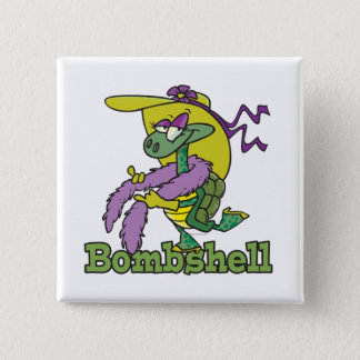 bombshell glam girly turtle tortoise cartoon 2 inch square button