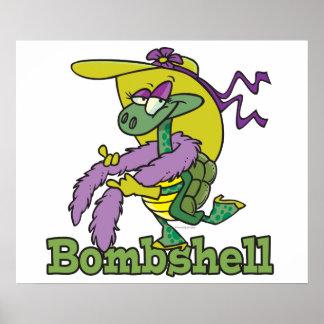 bombshell glam girly turtle tortoise cartoon poster