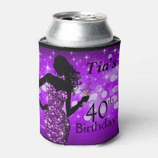 Bombshell Glitter Bling Sparkle Birthday | purple Can Cooler