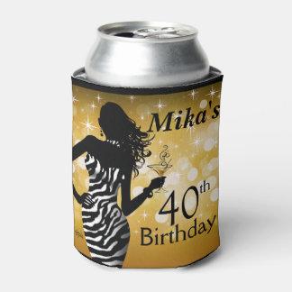 Bombshell Glitter Bling Zebra Birthday   gold Can Cooler