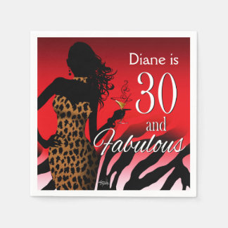 Bombshell Leopard 30th Birthday | red Disposable Napkins