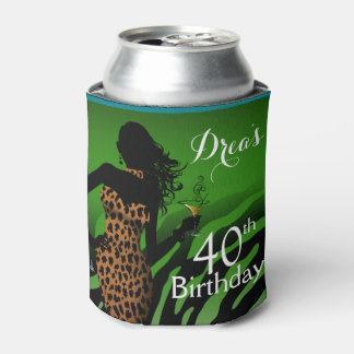 Bombshell Leopard Zebra Birthday   green Can Cooler
