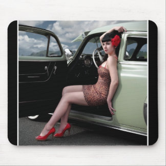 Bombshell Pin Up Girl with Classic Car Mouse Pad