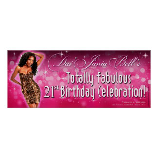 Bombshell Sparkle Leopard Party Banner 40x16 Poster