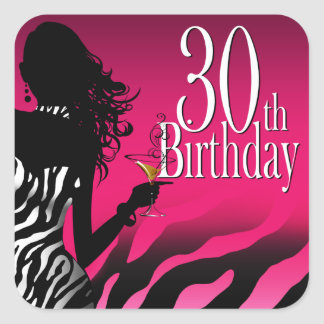 Bombshell Zebra 30th Birthday Party Fuschia Square Sticker